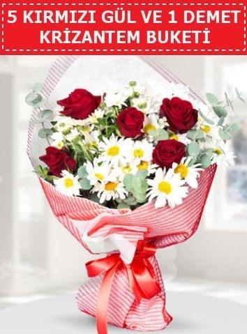 5 adet kırmızı gül ve krizantem buketi  Adana çiçek satışı