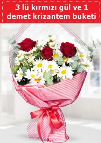 3 adet kırmızı gül ve krizantem buketi  Adana çiçek gönderme sitemiz güvenlidir