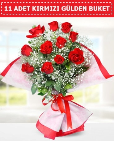 11 Adet Kırmızı Gül Buketi  Adana internetten çiçek siparişi