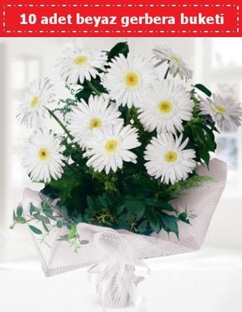 10 Adet beyaz gerbera buketi  Adana çiçek , çiçekçi , çiçekçilik