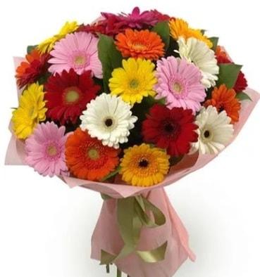 Karışık büyük boy gerbera çiçek buketi  Adana çiçek satışı
